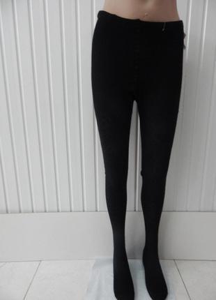 Женские ажурные вязаные колготки хлопок черные полосатые зигзаги размер 52-54 укр