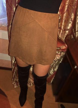 Горчичная замшевая юбка