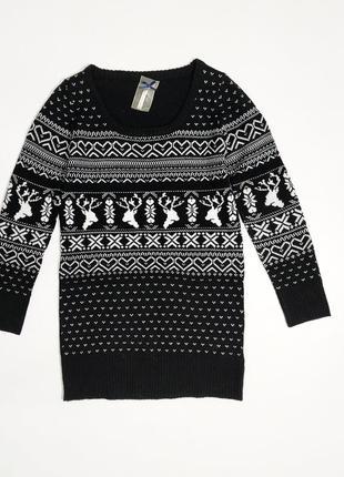 ❤️удлиненный свитер в оленях