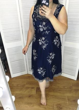 Очень красивое нарядное платье от monsoon, верх сетка с вышивкой, р. 18.