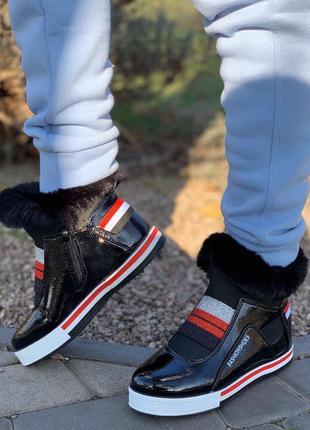 Ботинки зимние женские под tommy hilfiger эко кожа