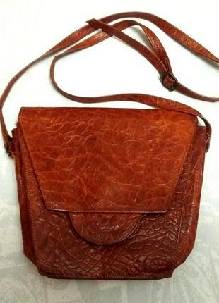 Сумка из кожи крокодила (не имитация), кожаная сумка с длинной ручкой footlight
