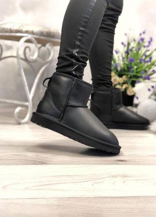Ugg classic mini black leather натуральные женские угги сапоги кожаные чёрные зима