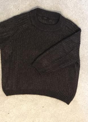 Блестящий джемпер укороченный шерстяной свитер  с объёмными 3/4 рукавами оверсайз