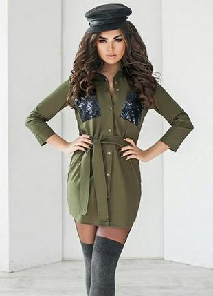 Стильное  платье туника рубашка женская отличного качества. коттон+паетка