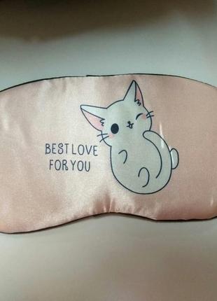 Маска для сна белый котик