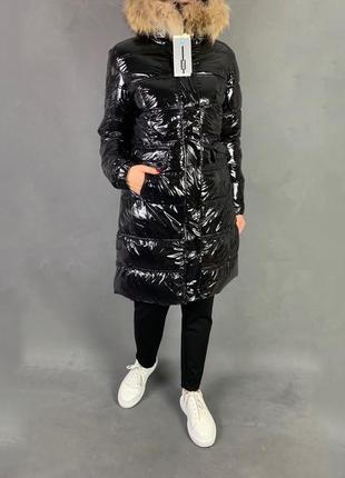 Пуховик лаковый куртка зимняя пальто био  пух с натуральным мехом.