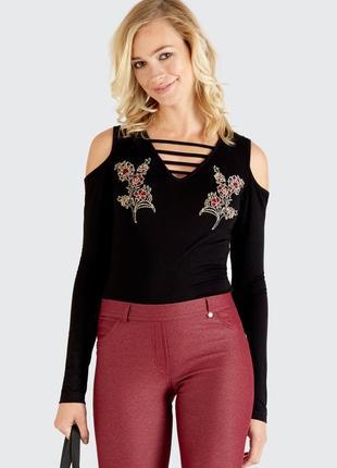 Боди с длинным рукавом/боди с вышивкой/черное базовое боди от select fashion