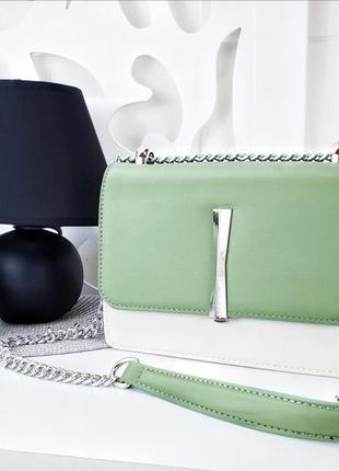 Молочный + оливковый клатч, сумка эко-кожа люкс качества, купить клатч