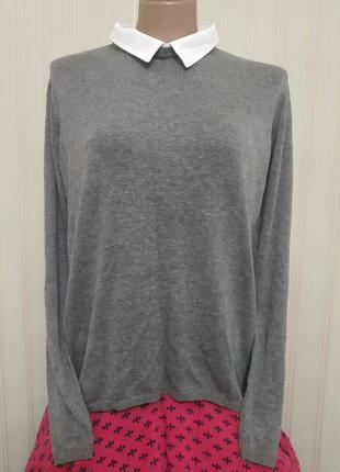 Новый комбинированный джемпер свитер большого размера