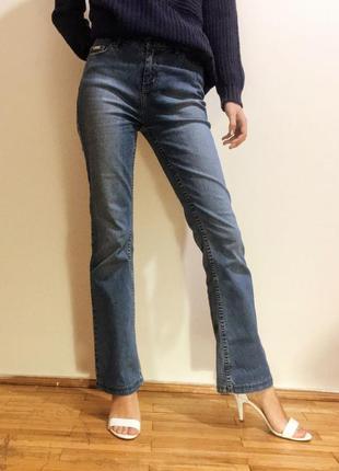 """Голубые джинсы bootcut с высокой талией """"colours of the world"""", размер xs"""