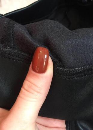 Новые кожаные лосины штаны, скини на флисе4 фото