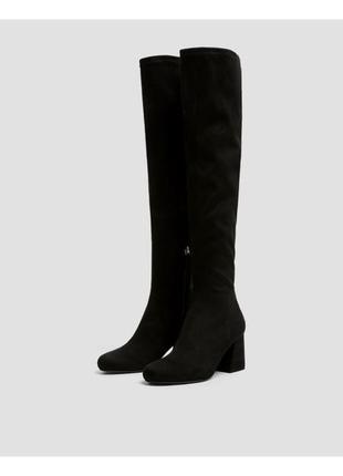 Черные ботфорты чулки/сапоги bershka