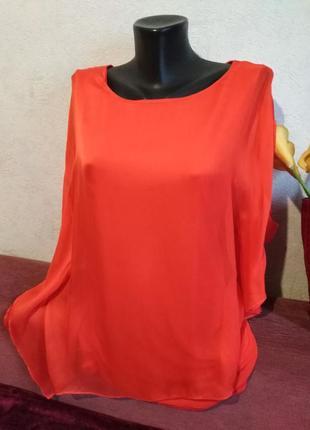 Натуральный шелк, нежная летящяя блузочка, красно-оранжевая, удлинённая ассиметрия
