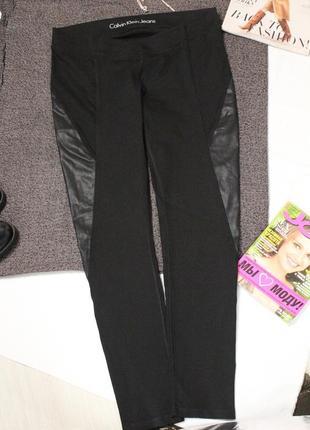 Джинсы черные джегинсы с кожаными вставками хл 32 размер calvin klein