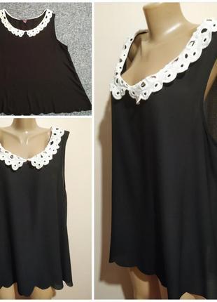Оригинальная блузка-безрукавка,топ с кружевным воротником,uk-26