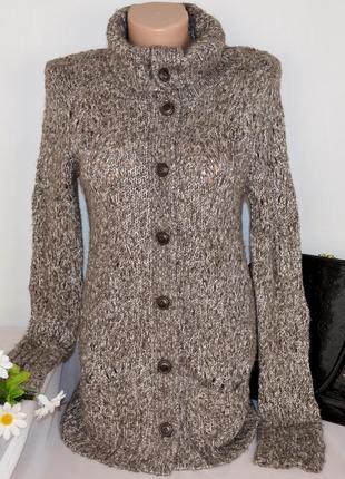 Брендовый вязаный коричневый теплый кардиган с карманами topshop тайвань акрил