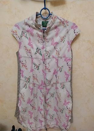 Классное льняное платье с птицами
