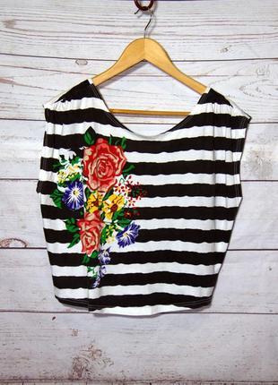 Укороченная майка-топ/футболка  в полоску с принтом uk10