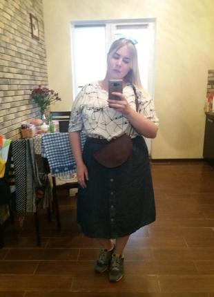 Джинсовая юбка солнце-клеш большой размер 54 56