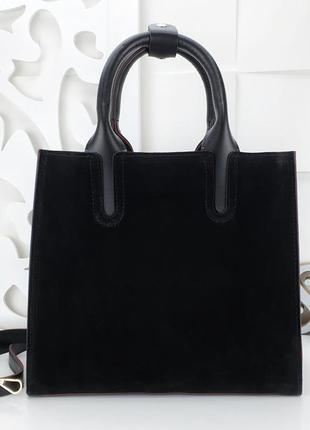 Черная сумка с красными краями, натуральный замш, купить сумку, натуральная кожа