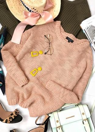 Нюдовый вязаный свитер