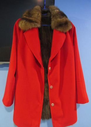 Соболь. новая, шуба пальто, парка из соболя с кашемиром.