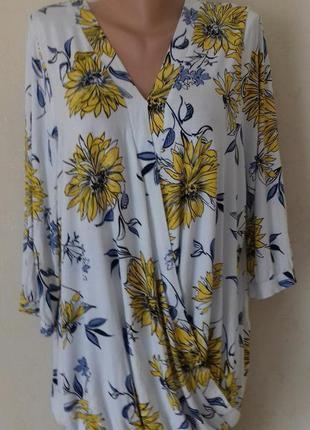 Трикотажная вискозная блуза с принтом большого размера george