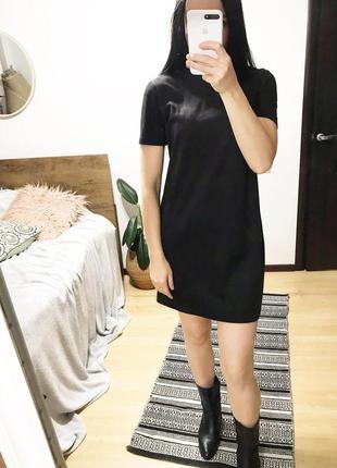 Платье чёрное эко замш zara
