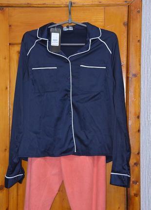 Темно-синяя блузка в пижамном стиле, с-м