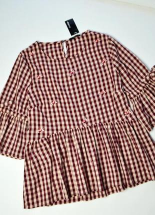 Свободная блуза в клетку и вышивку цветы хлопок рубашка