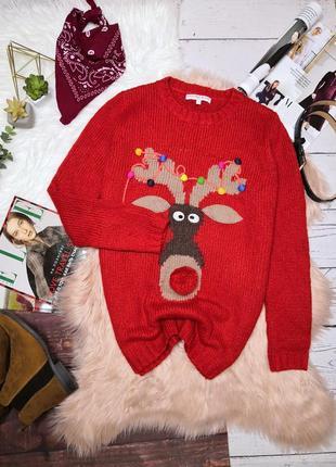 Красный новогодний свитер с оленем нос бубон