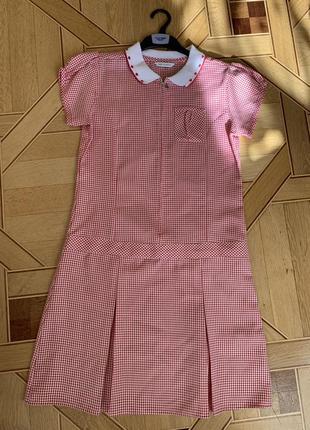 Платье в клеточку, 12-13 лет, m&s, 158 см, поло, plus fit, школьное