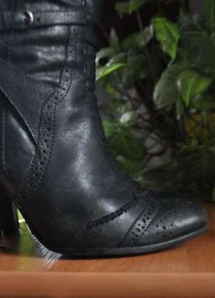 Зимние кожаные черные натуральные сапоги до колена (зима, кожа)