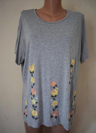 Трикотажная блуза с вышивкой большого размера tu