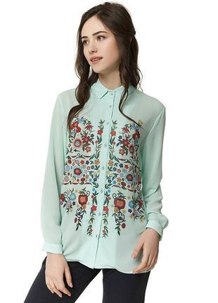 Шифоновая мятная блуза с цветочным орнаментом nenka