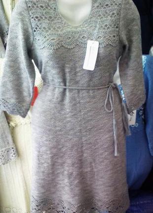 Тёплое  серое платье ,вязаное
