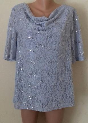 Красивая нарядная кружевная блуза с пайетками большого размера