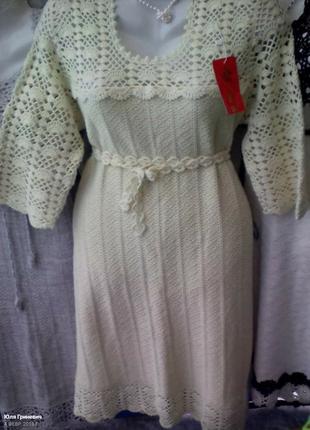 Льняное платье с отделкой ручной работы