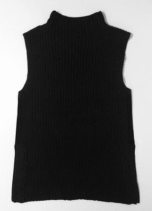 Женский черный длинный свитер без рукавов, черная вязаная длинная жилетка