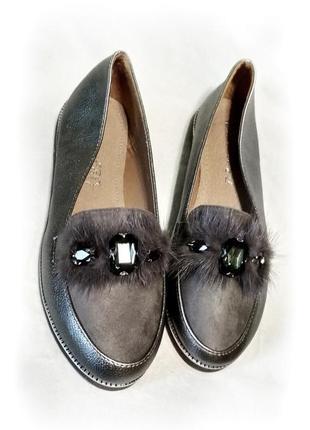 Балетки лодочки серебряные лоферы мокасины туфли(стелька кожа) 24.5см
