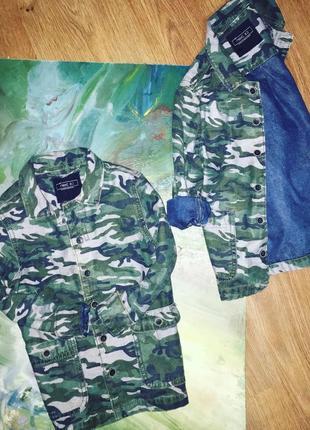 Пиджак джинсовый колааассс с комуфляжным принтом