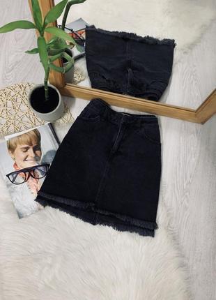Джинсова юбка з необробленим низом від new look🌿