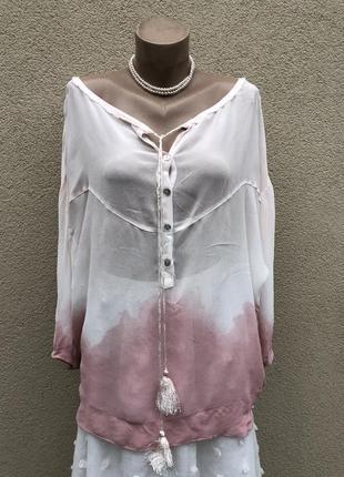 Блуза амбре,рубаха прозрачная,этно,бохо стиль,большой размер