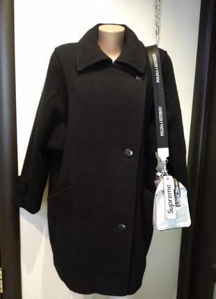 Натуральная шерсть базовое тёплое чёрное пальто оверсайз