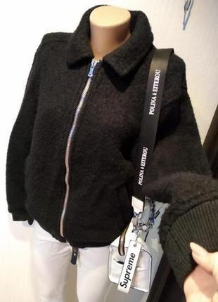 Натуральная шерсть стильная базовая куртка бомбер черная тёплая