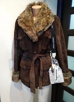 Натуральная замша шикарная стильная брэндовая куртка парка коричневая с мехом