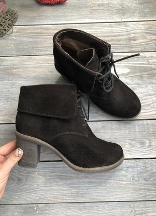Tchibo замшевые утеплённые ботинки на каблуке