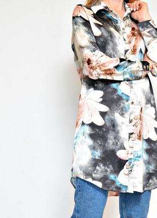 Рубашка удлиненная в цветочный принт