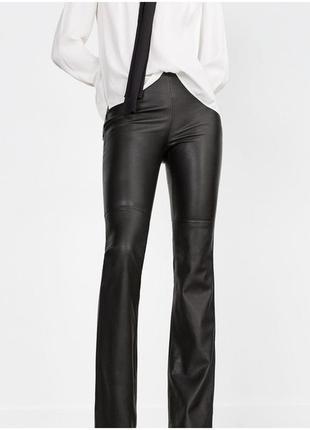 Супер трендовые кожаные брюки от zara, высокая талия,xs,s
